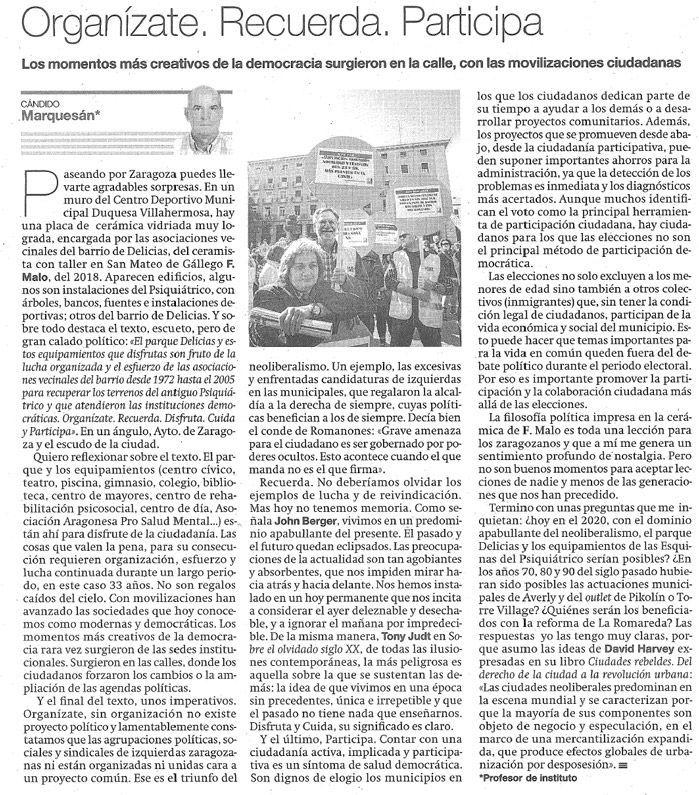 Artículo Cándido Marquesán El Periódico