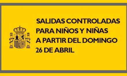 Salidas controladas para niños y niñas a partir del 26 de abril
